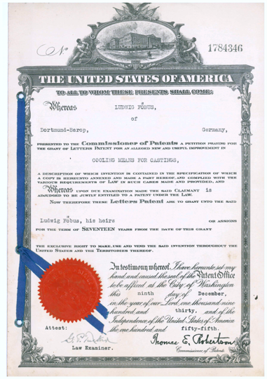 patent certificates from the United States of America